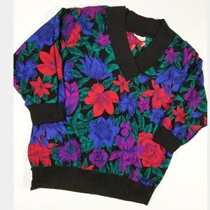Vintage Bright Floral 80s 90s Pop Blouse Shirt EUC